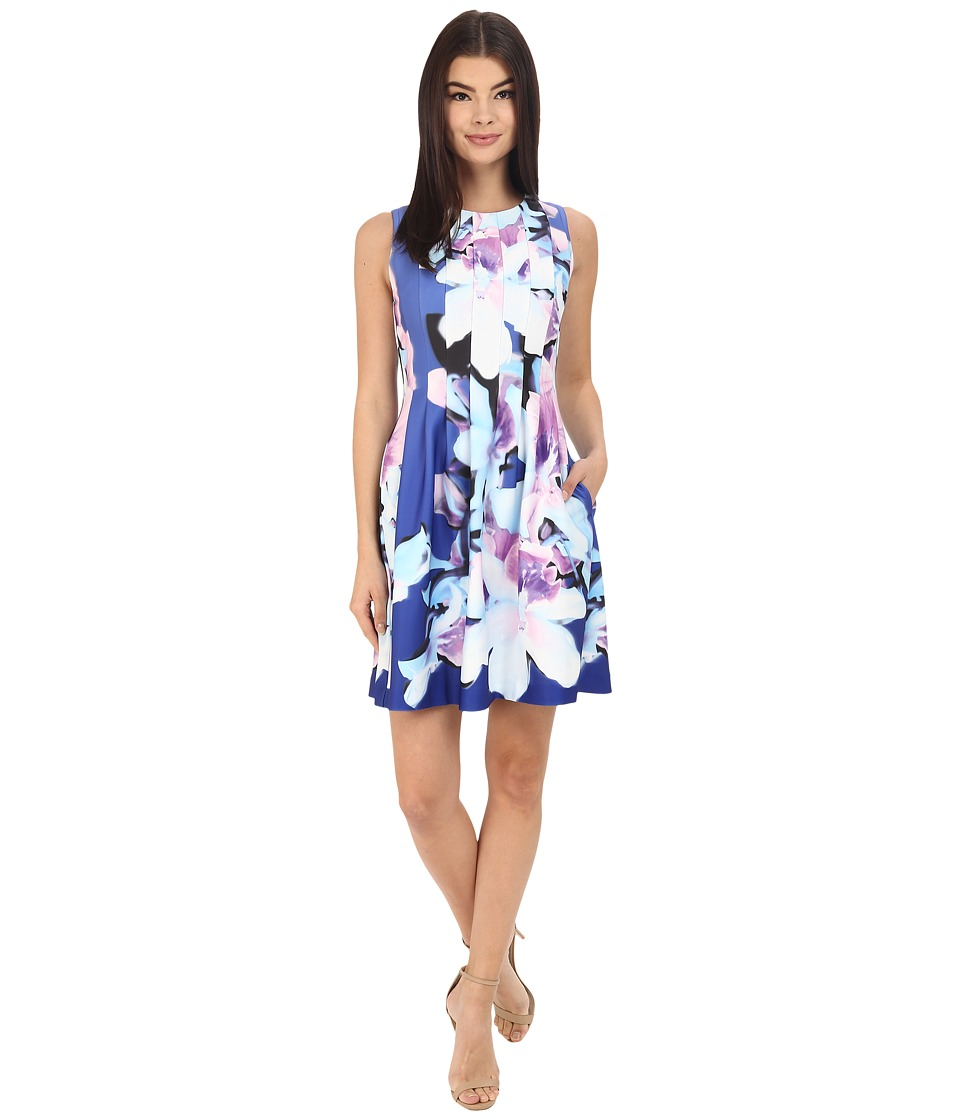 Vince Camuto - Printed Scuba Sleeveless Fit and Flare with Release Pleats Dress (Purple) Women's Dress