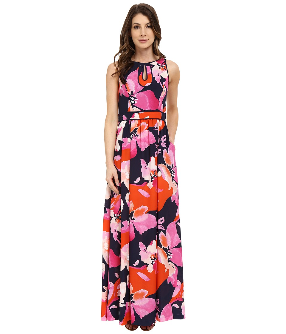 Vince Camuto Maxi with Keyhole Detail and Binding Dress (Print) Women