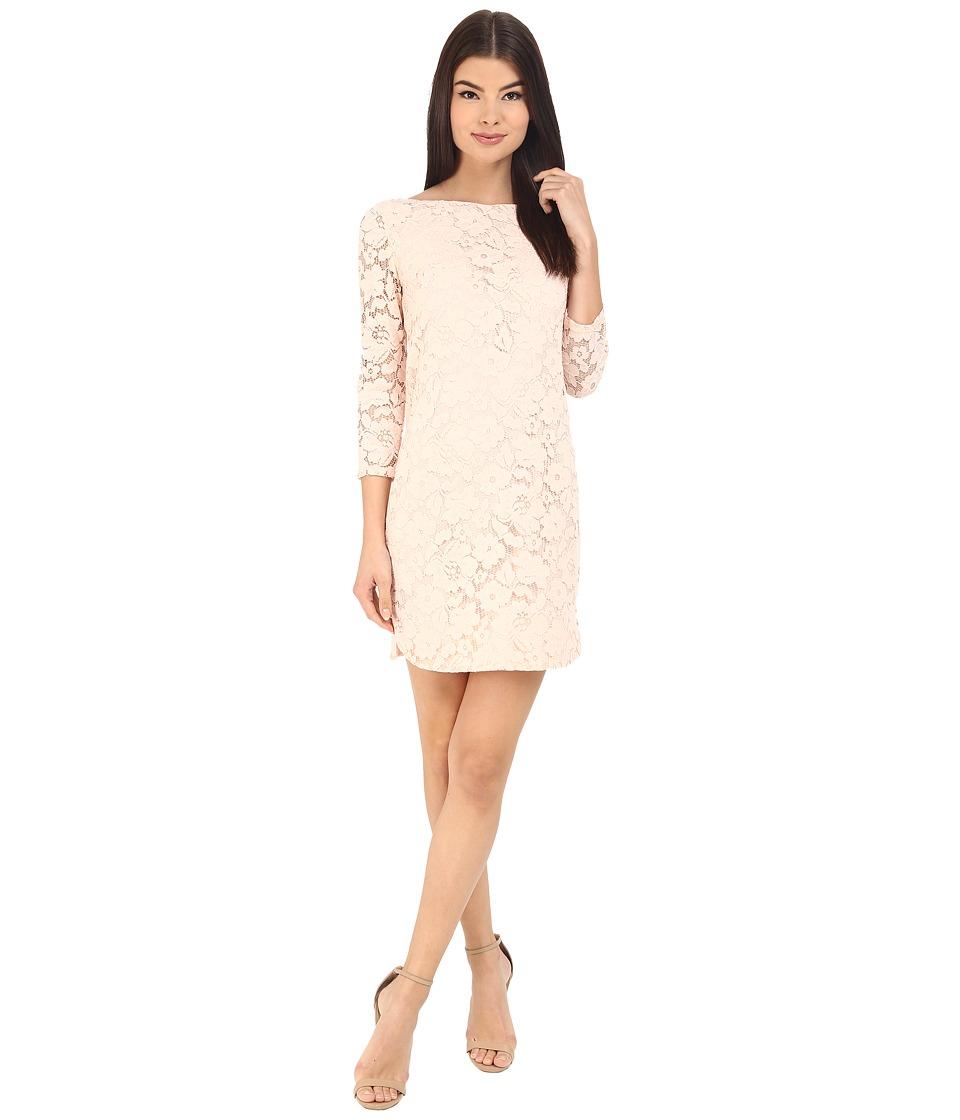 Vince Camuto 3/4 Length Shift Dress w/ Shirt Tail Hem (Blush) Women