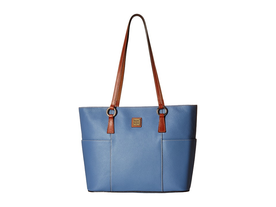 Dooney & Bourke - Pebble Helena Shopper (Dusty Blue/Tan Trim) Tote Handbags
