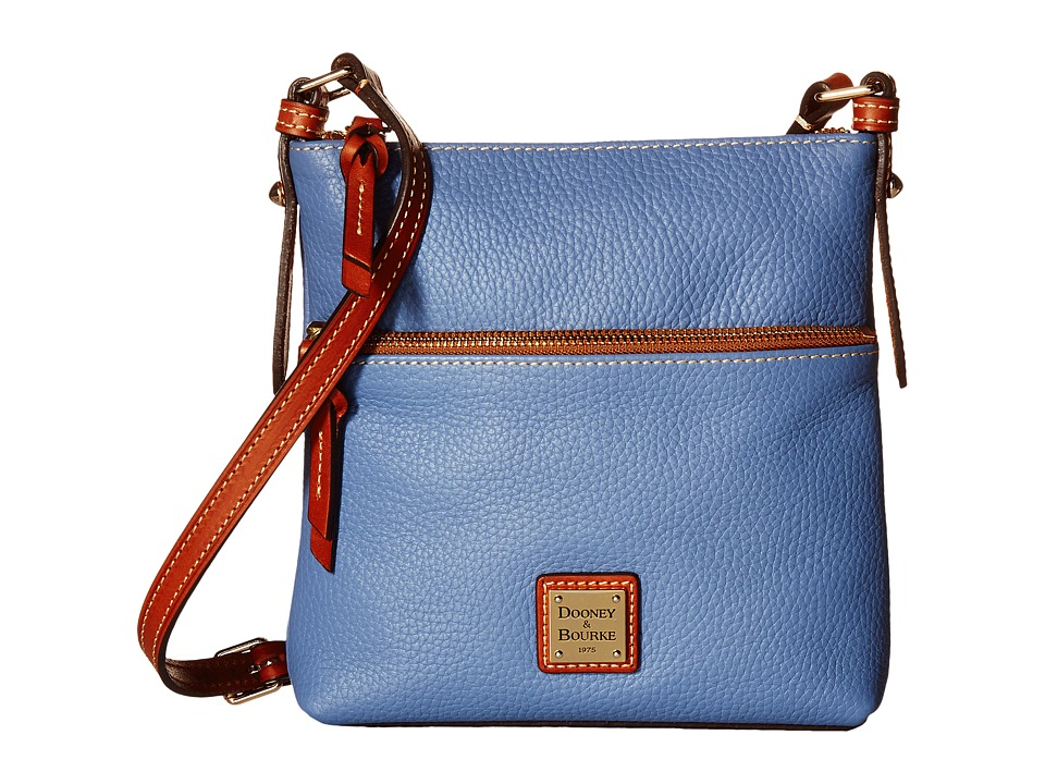 Dooney & Bourke - Pebble Letter Carrier (Dusty Blue/Tan Trim) Cross Body Handbags