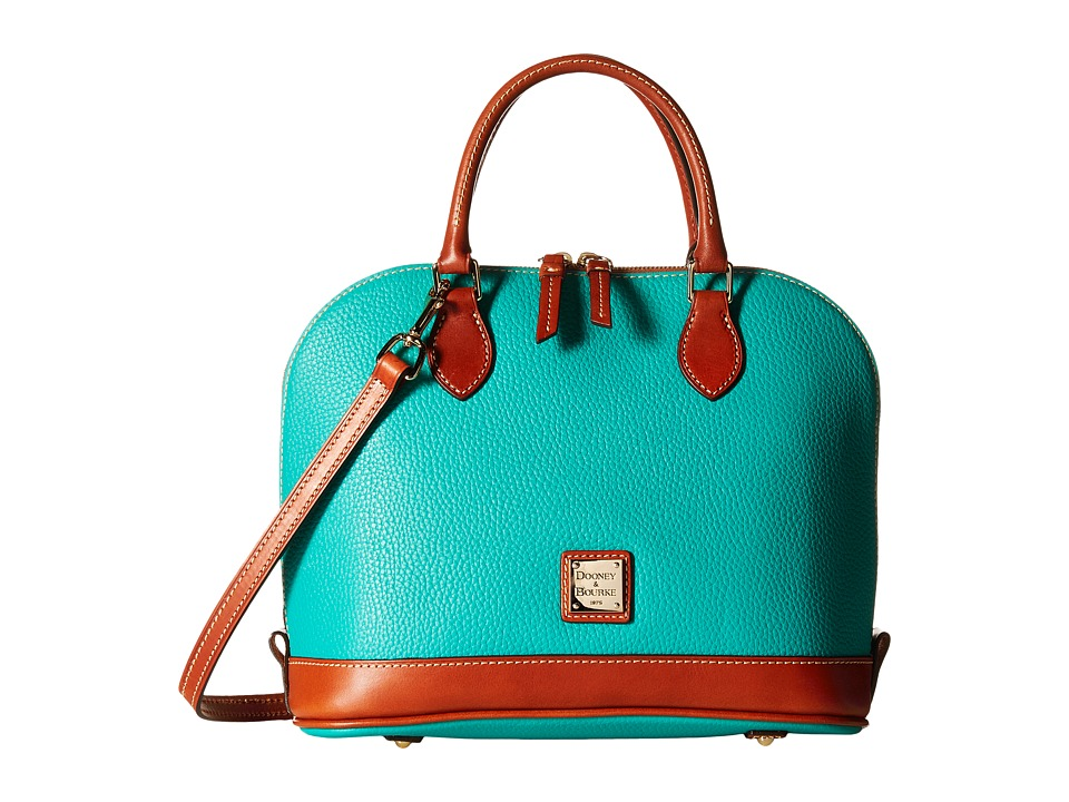 Dooney & Bourke - Pebble Zip Zip Satchel (Spearmint/Tan Trim) Satchel Handbags