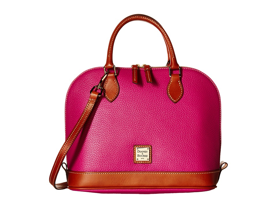 Dooney & Bourke - Pebble Zip Zip Satchel (Magenta/Tan Trim) Satchel Handbags