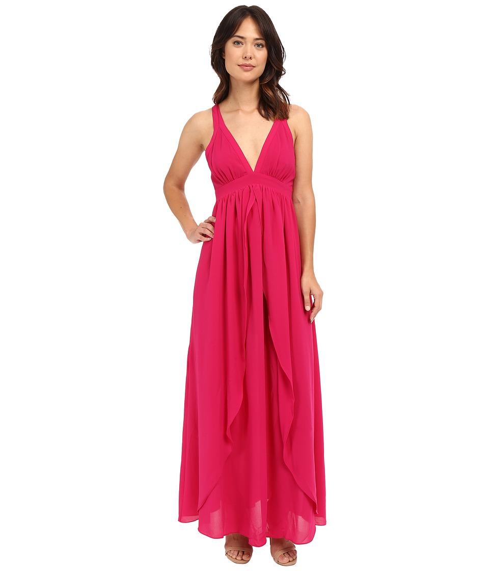 Adelyn Rae - Woven Maxi Dress w/ Open Back (Magenta) Women's Dress