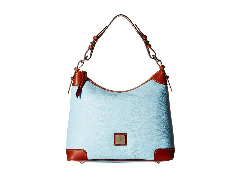 Dooney & Bourke - Pebble Hobo (Pale Blue/Tan Trim) Hobo Handbags