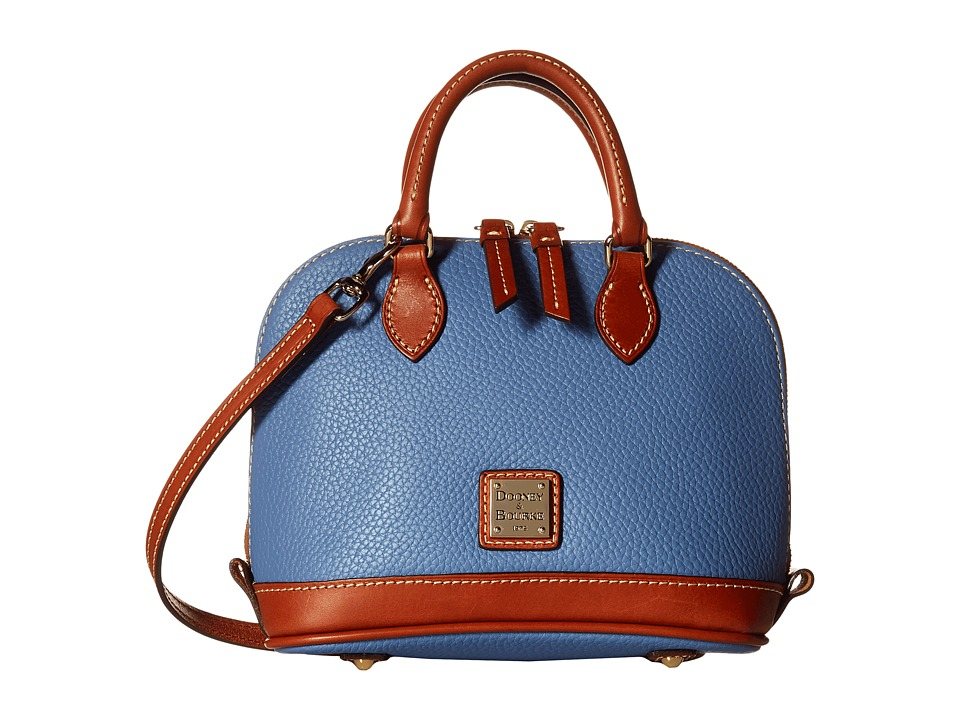 Dooney & Bourke - Pebble Bitsy Bag (Dusty Blue/Tan Trim) Satchel Handbags