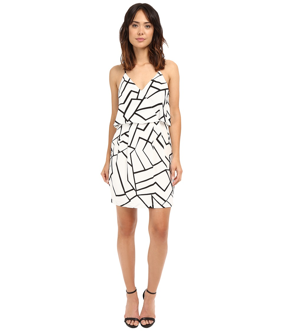 Adelyn Rae - Woven Sheath Dress w/ Back Strap Detail (White/Black) Women's Dress