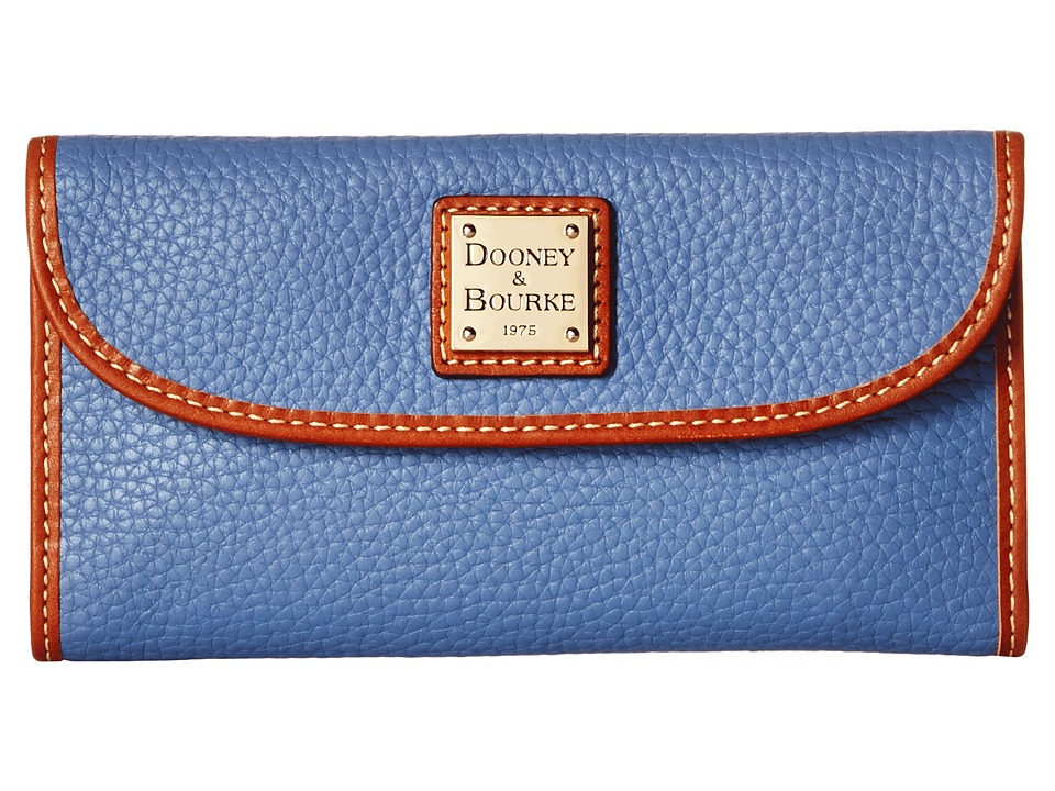 Dooney & Bourke - Pebble Continental Clutch (Dusty Blue/Tan Trim) Clutch Handbags