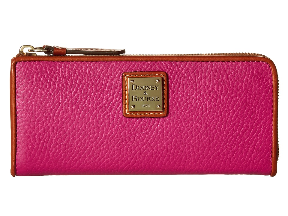 Dooney & Bourke - Pebble Zip Clutch (Magenta/Tan Trim) Clutch Handbags