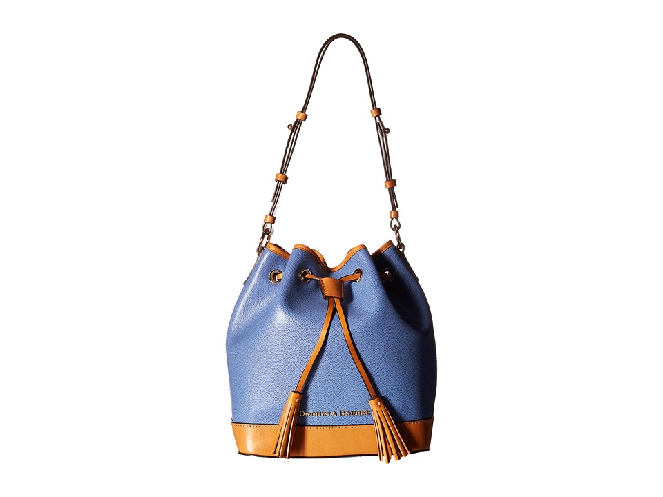 Dooney & Bourke - Claremont Drawstring (Dusty Blue/Butterscotch Trim) Shoulder Handbags