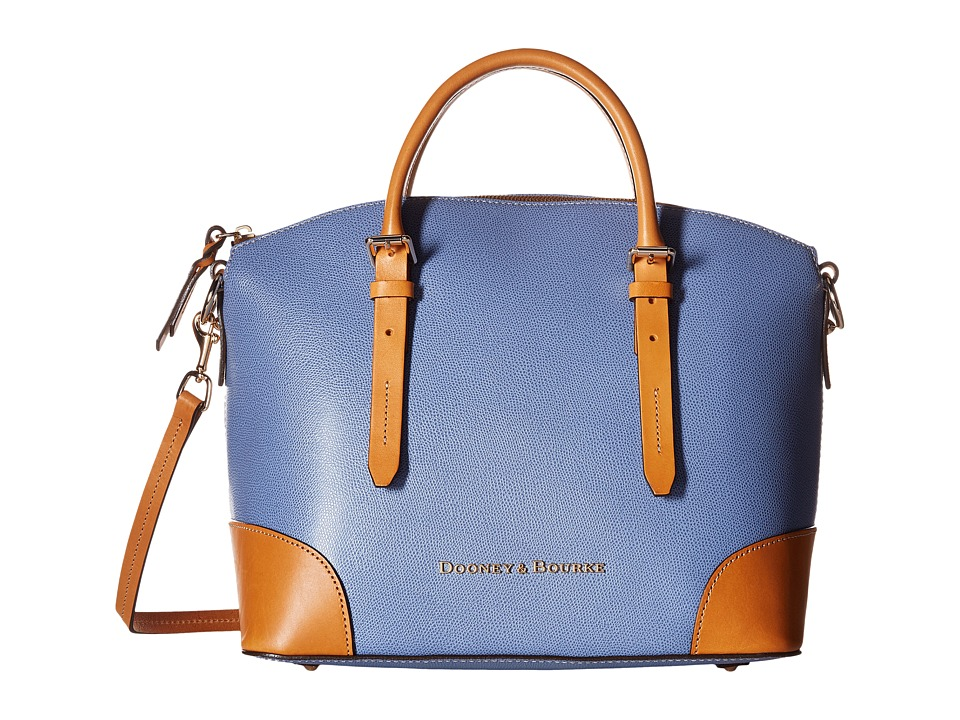 Dooney & Bourke - Claremont Domed Satchel (Dusty Blue/Butterscotch Trim) Satchel Handbags