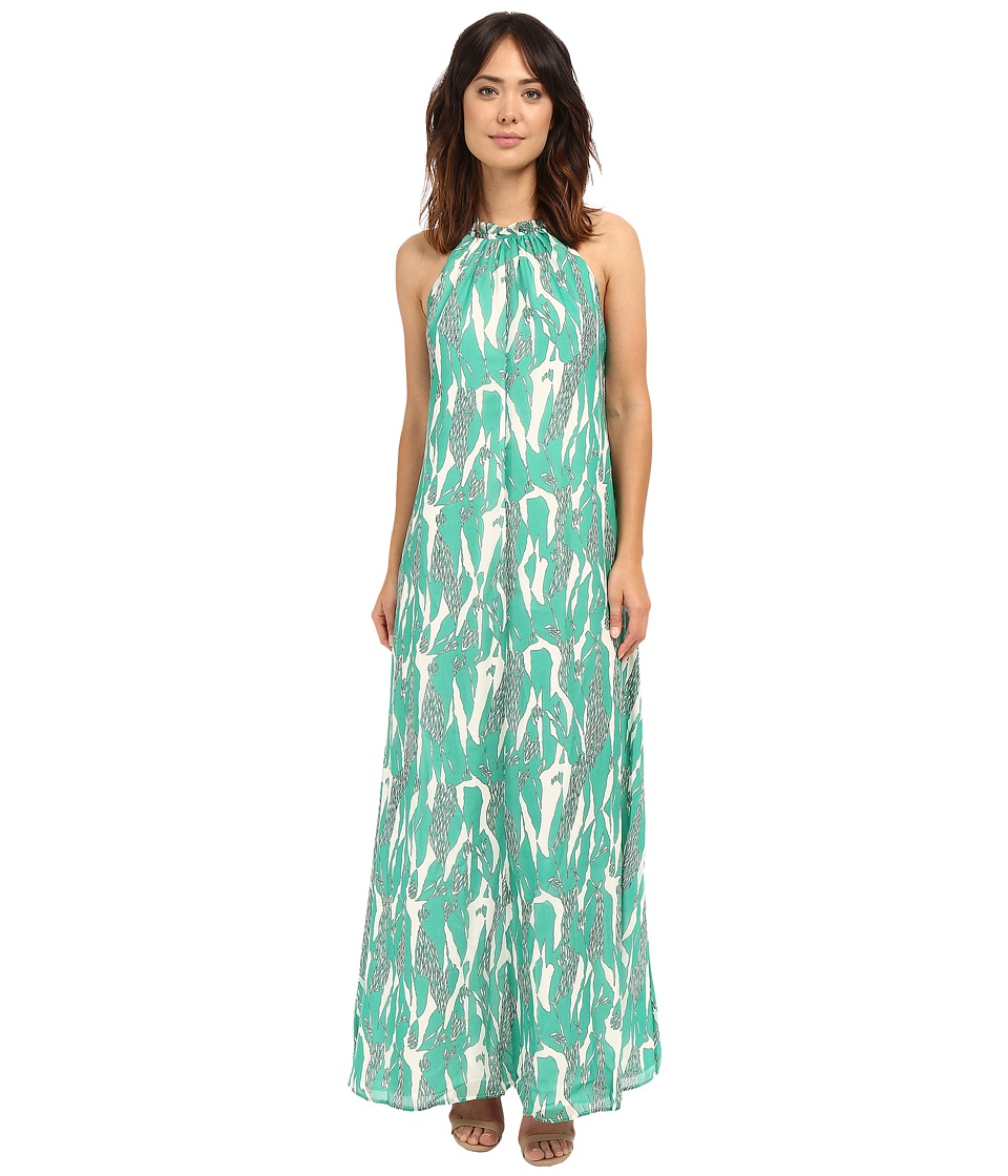 Adelyn Rae - Halter Maxi Dress w/ Racerback Straps (Green/White) Women's Dress