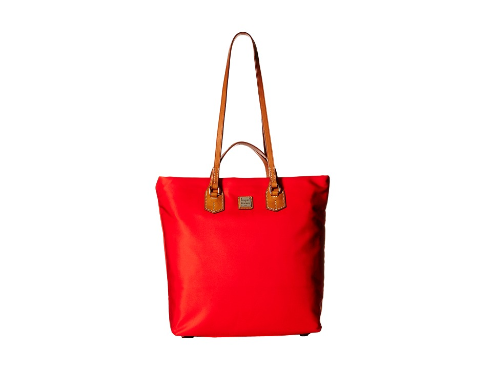 Dooney & Bourke - Windham North/South Leighton Tote (Red/Natural Trim) Tote Handbags