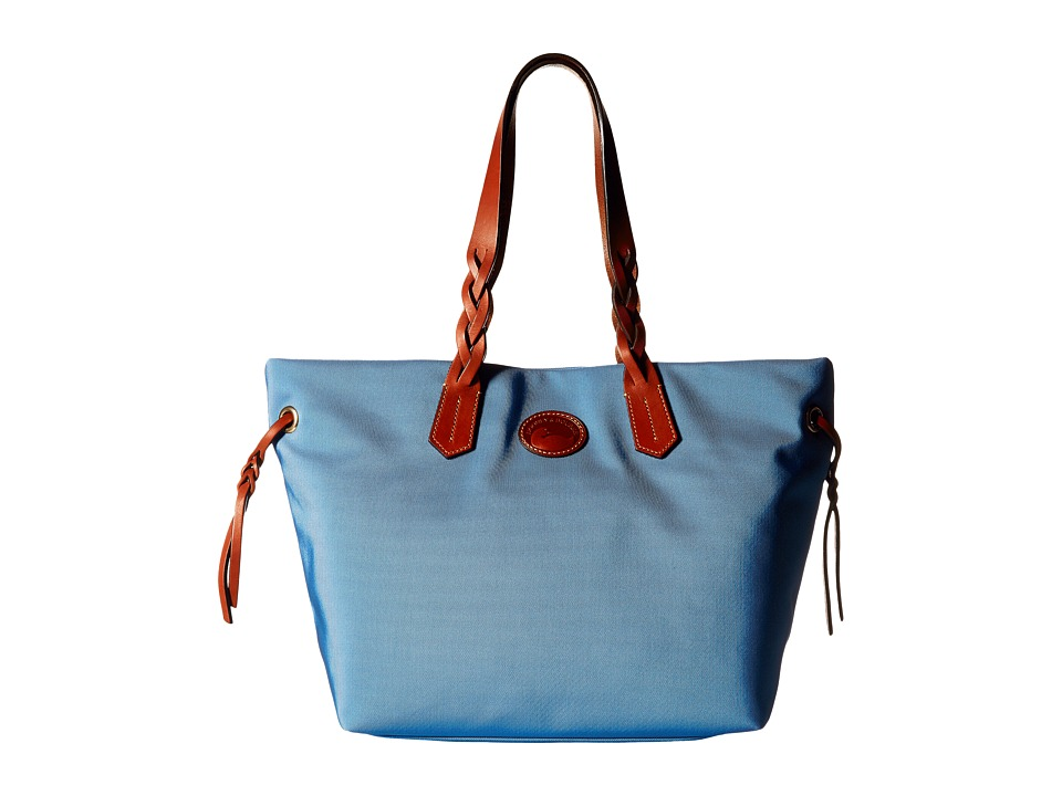Dooney & Bourke - Nylon Shopper (Dusty Blue/Tan Trim) Tote Handbags