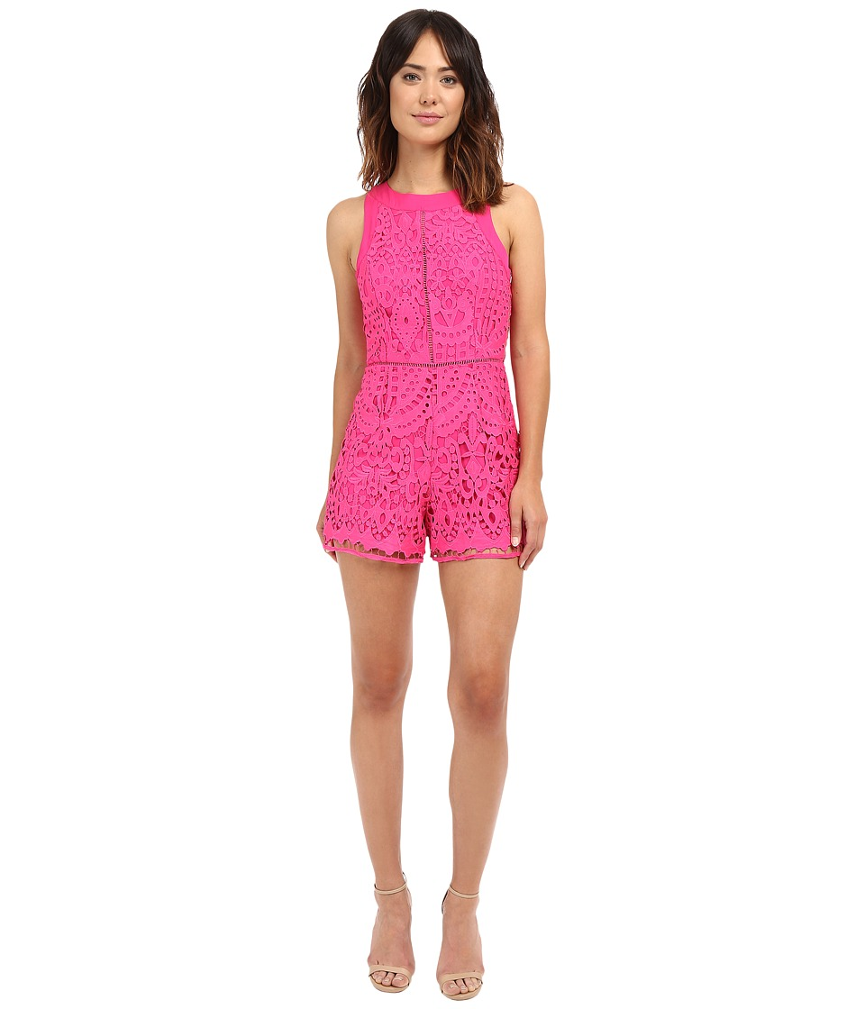Adelyn Rae - Sleeveless Lace Romper (Magenta) Women's Jumpsuit & Rompers One Piece