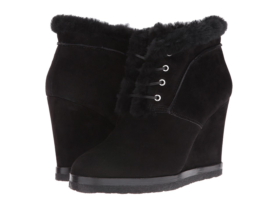 Michael Kors Chadwick Black-Palladium Kid Suede-Black Shearling-Pom Pom Womens Wedge Shoes