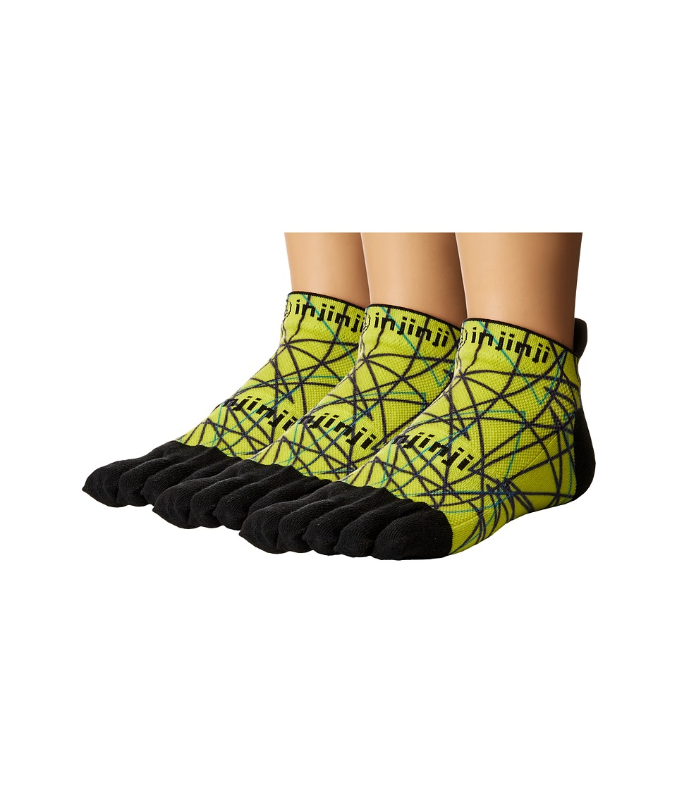 Injinji - Run Lightweight No Show 3-Pack (Lime Spectrum) No Show Socks Shoes