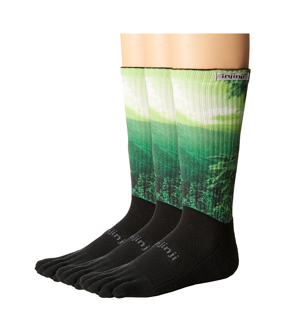 Injinji - Trail Midweight Crew 3-Pack (Forest Spectrum) Crew Cut Socks Shoes