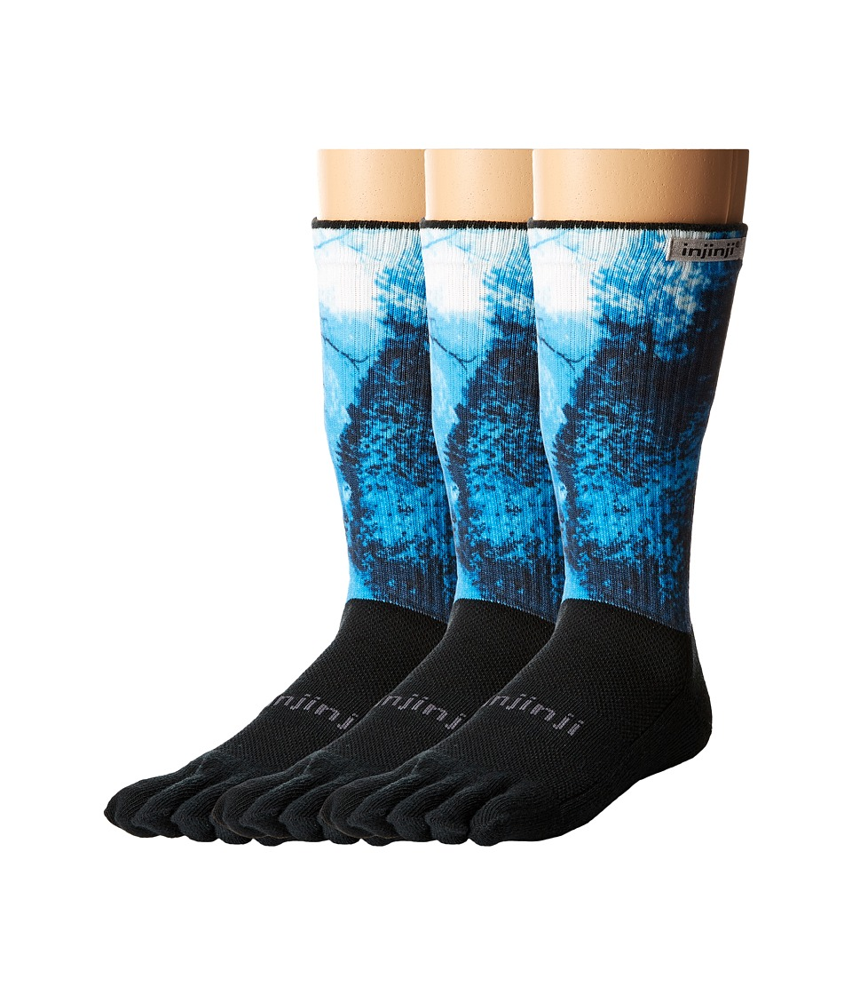 Injinji - Trail Midweight Crew 3-Pack (Woods Spectrum) Crew Cut Socks Shoes