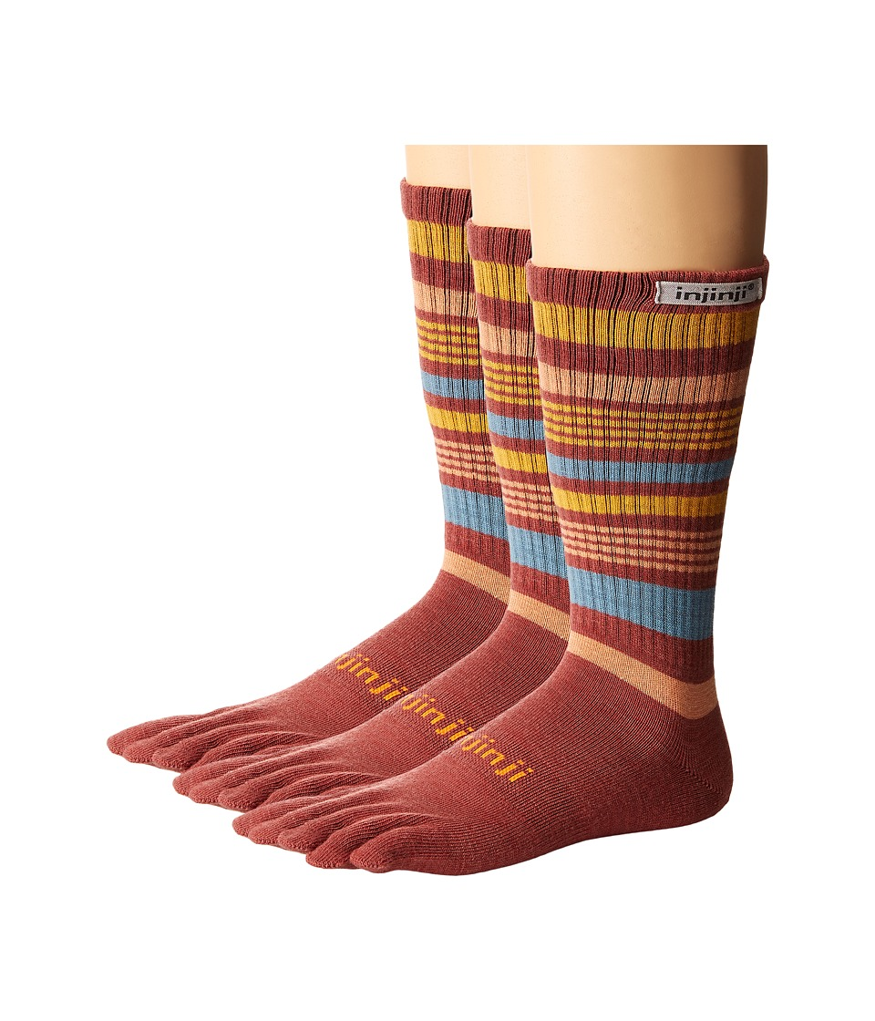 Injinji - Outdoor 2.0 Original Weight Crew NuWool 3-Pair Pack (Rosewood) No Show Socks Shoes