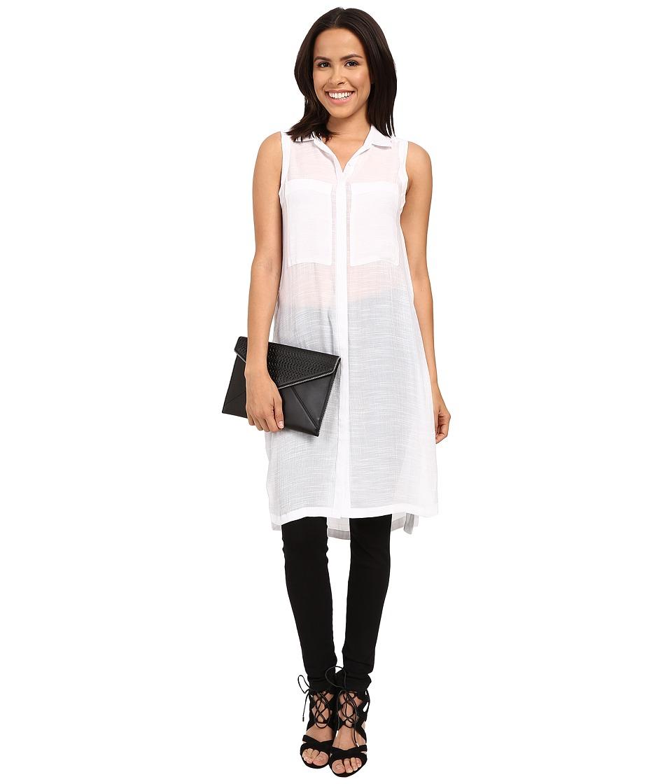 kensie - Light Weight Slub Tunic KS4K4293 (White) Women's Blouse