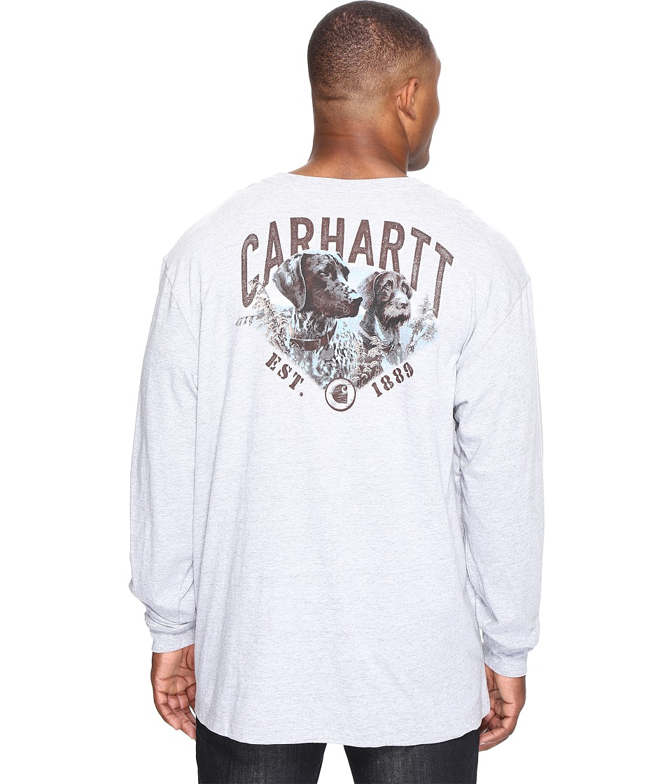 Carhartt - Big Tall Maddock Graphic Carhartt's Best Friend Long Sleeve Pocket T-Shirt (Heather Gray) Men's Long Sleeve Pullover
