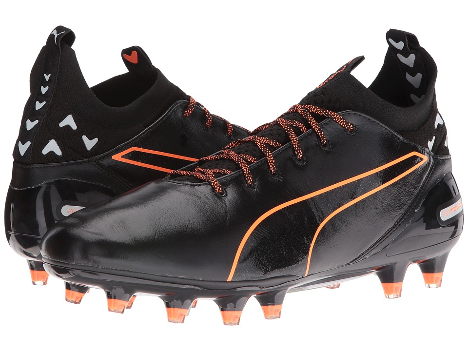PUMA - evoTouch Pro FG (Puma Black/Puma Black/Shocking Orange) Men's Shoes