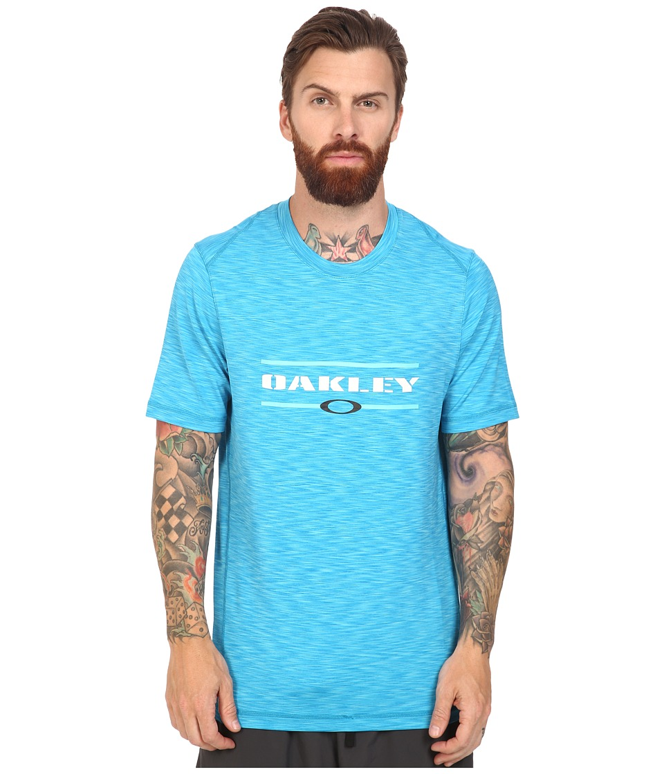 Oakley - Melange Short Sleeve Rashguard (Illumination Blue) Men's Swimwear
