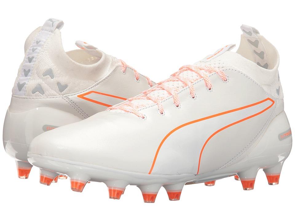 PUMA - evoTouch Pro FG (Puma White/Puma White/Shocking Orange) Men's Shoes