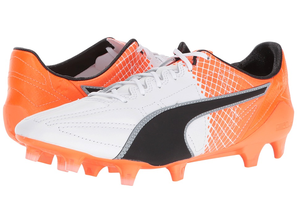 PUMA - evoSPEED SL LTH II FG (Puma White/Puma Black/Shocking Orange) Men's Shoes
