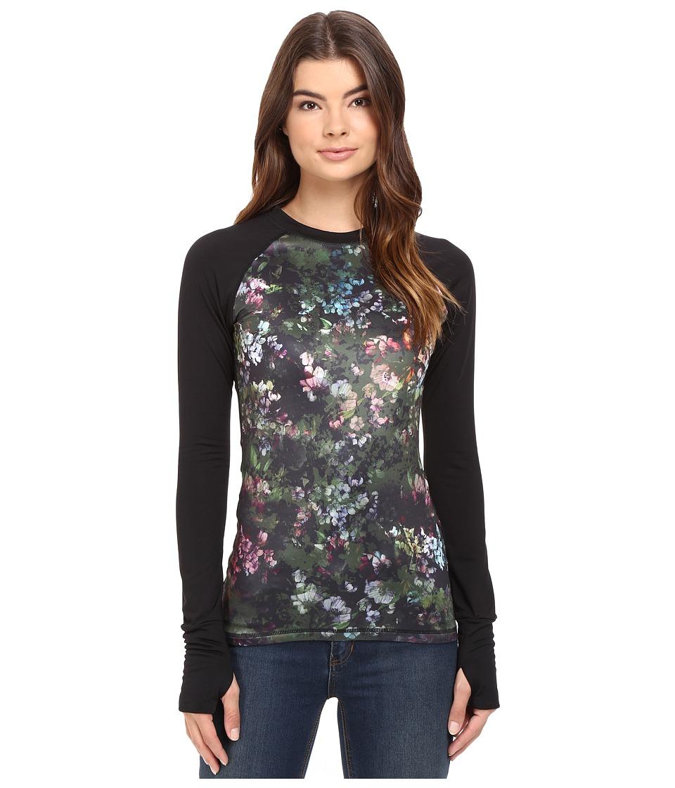 Volcom Snow - Vision Crew (Black Floral Print) Women's T Shirt