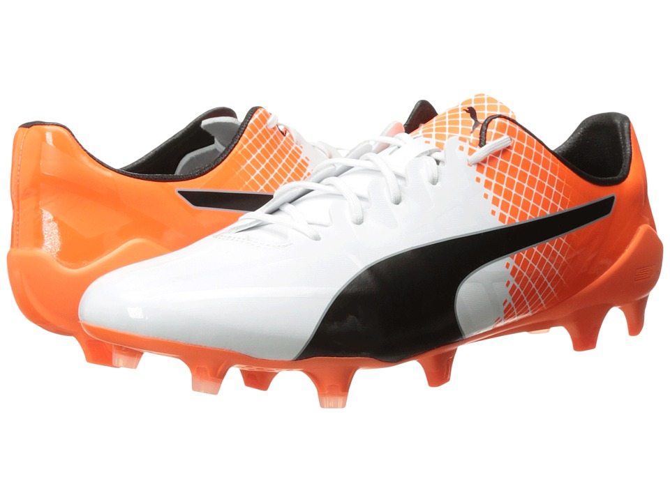 PUMA - evoSPEED SL-S II FG (Puma White/Puma Black/Shocking Orange) Men's Shoes