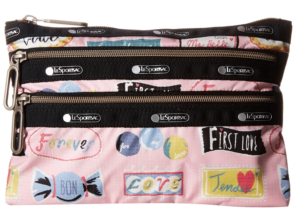 LeSportsac - Classic 3-Zip Pouch (Sweet Talk Pink) Wallet