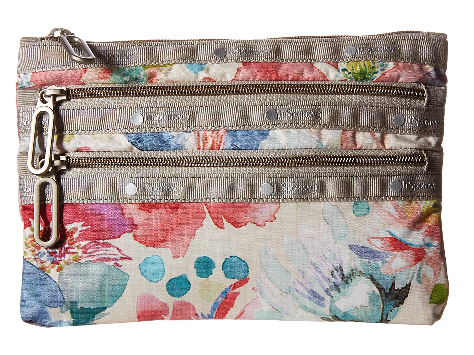 LeSportsac - Classic 3-Zip Pouch (Waterlily Garden) Wallet