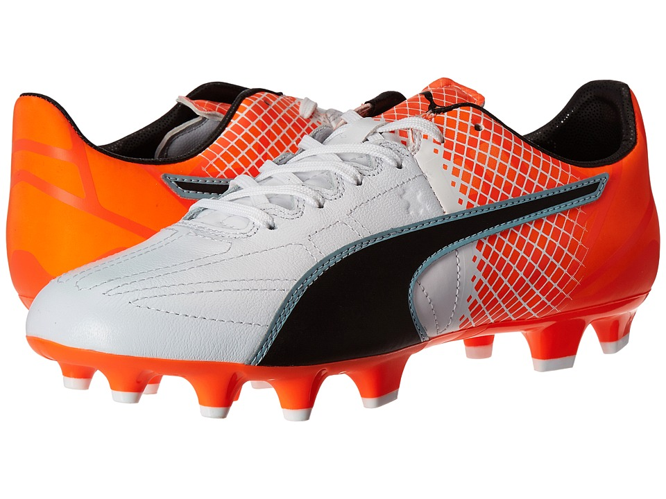 PUMA - evoSPEED 3.5 LTH FG (Puma White/Puma Black/Shocking Orange) Men's Shoes