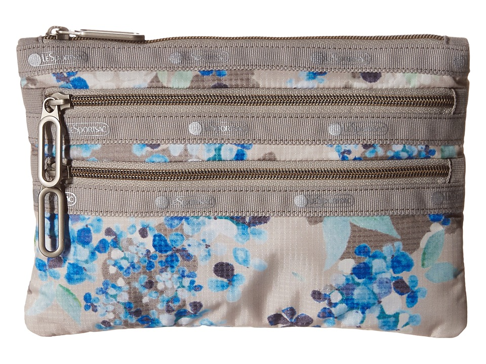 LeSportsac - Classic 3-Zip Pouch (Flower Cluster Khaki) Wallet