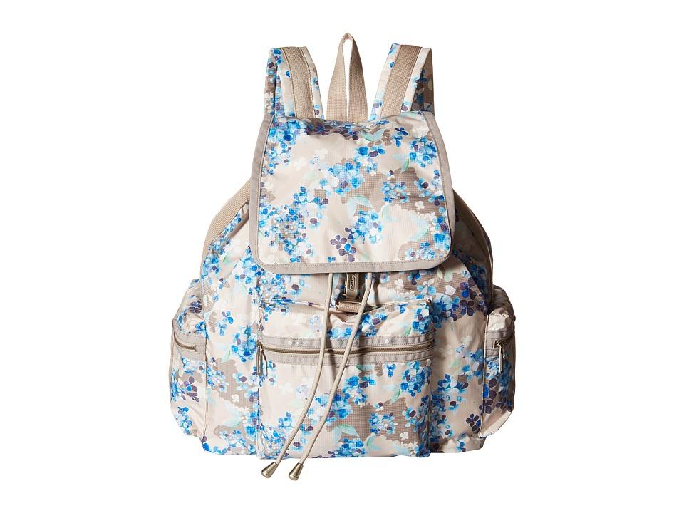 LeSportsac - 3-Zip Voyager (Flower Cluster Khaki) Handbags