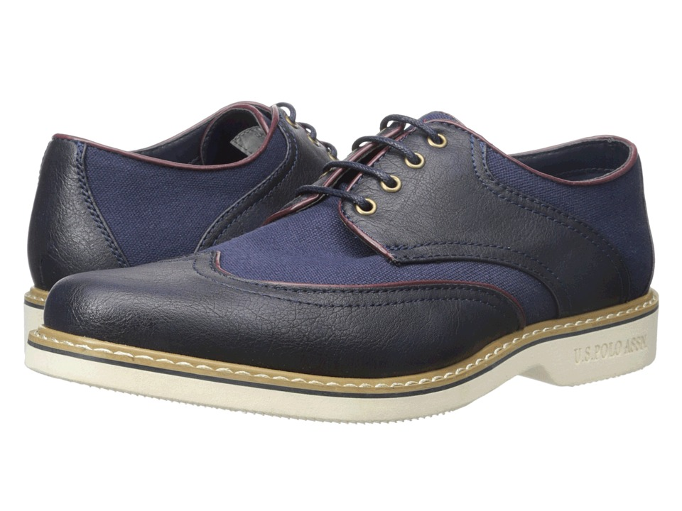 U.S. POLO ASSN. - Clark Wingtip (Navy) Men's Lace Up Wing Tip Shoes