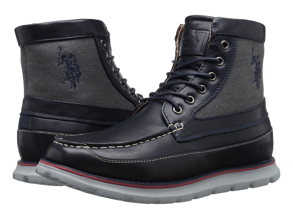 U.S. POLO ASSN. - Mercer Tall Moc (Navy/Grey) Men's Moccasin Shoes