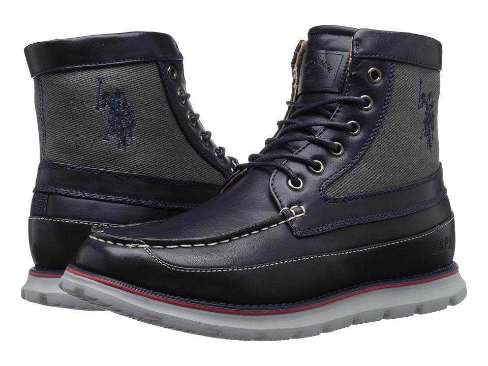 U.S. POLO ASSN. - Mercer Tall Moc (Navy/Grey) Men's Moccasin Shoes
