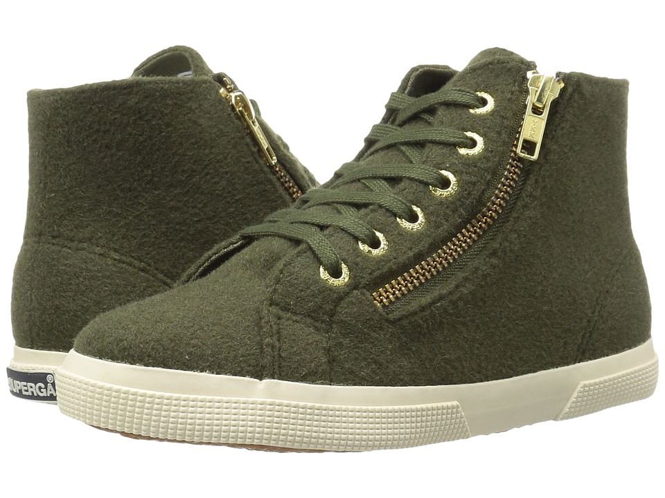 Superga - 2224 Polywoolw (Green Olive) Women's Lace up casual Shoes