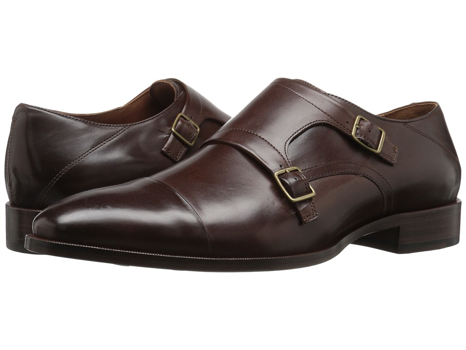 Johnston & Murphy - Nolen Double Buckle (Dark Brown Italian Calfskin) Men's Slip-on Dress Shoes