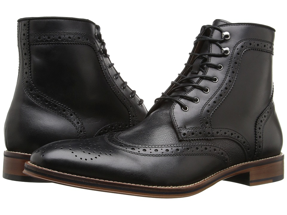 Johnston & Murphy - Conard Wingtip Boot (Black Italian Calfskin) Men's Dress Lace-up Boots