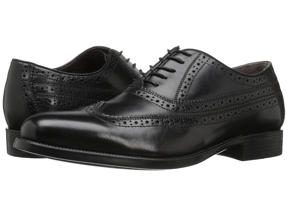 Johnston & Murphy - Duvall Wingtip (Black Calfskin) Men's Lace Up Wing Tip Shoes