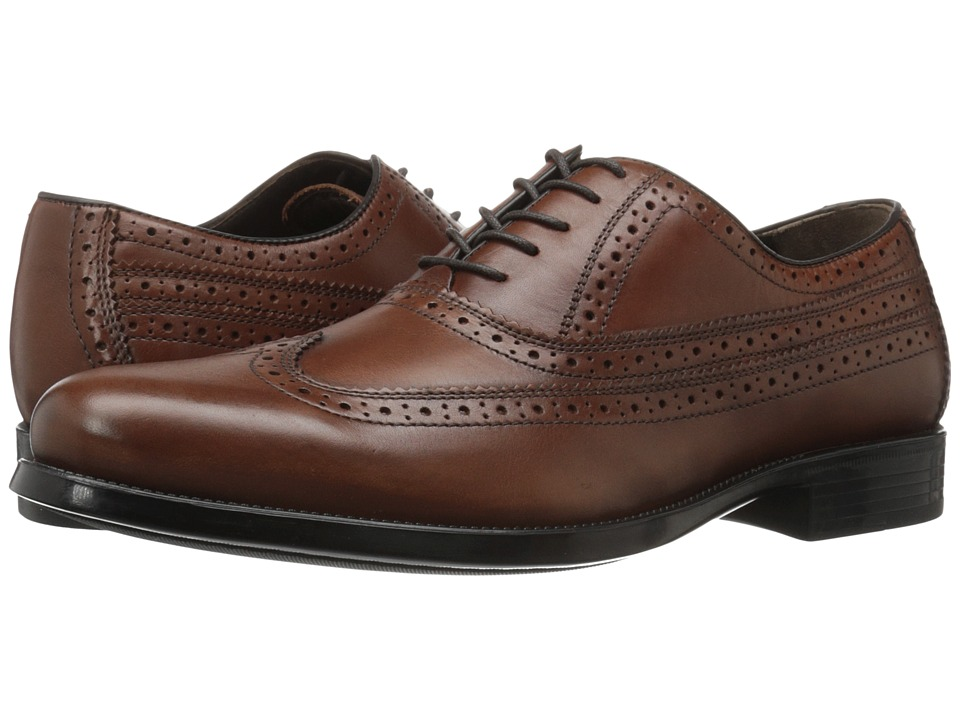 Johnston & Murphy - Duvall Wingtip (Tan Calfskin) Men's Lace Up Wing Tip Shoes