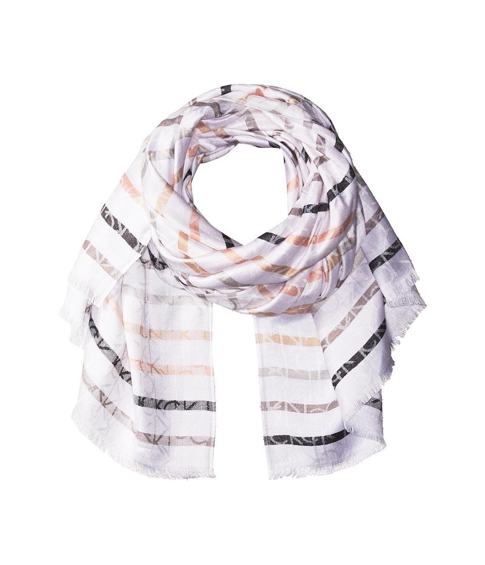 Calvin Klein - CK Logo Stripe Pashmina (Neutral) Scarves