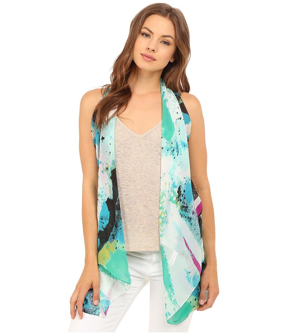 Calvin Klein - Graffiti Print Convertible Scarf Vest (Lagoon) Scarves