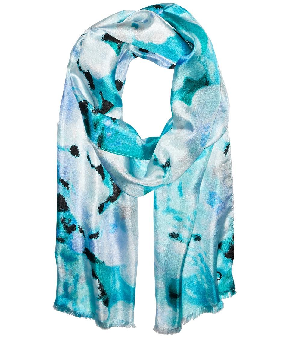 Calvin Klein - Glassy Floral Silk Scarf (Verdian) Scarves
