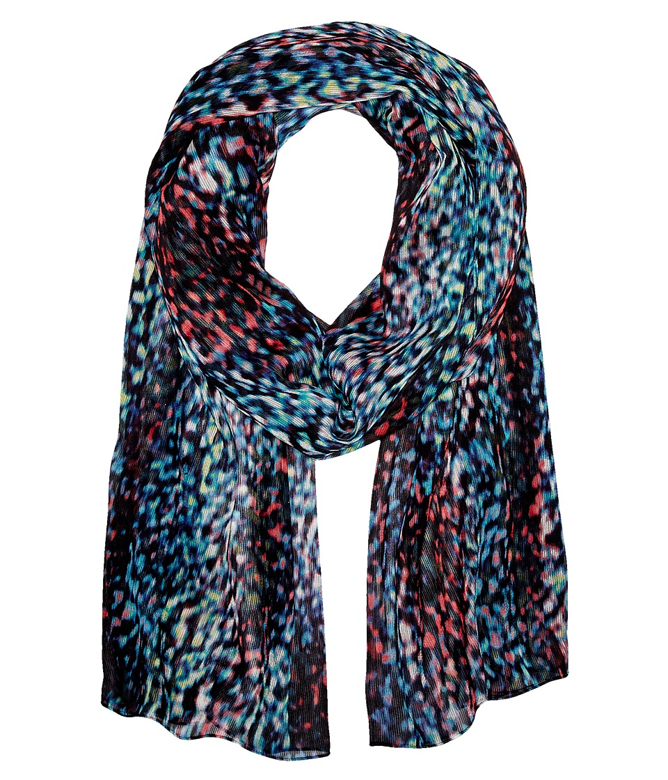 Calvin Klein - Abstract Animal Crinkle Chiffon Scarf (Black Multi) Scarves