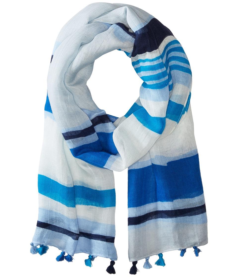Calvin Klein - Desert Stripe Tassel Scarf (Caribbean) Scarves